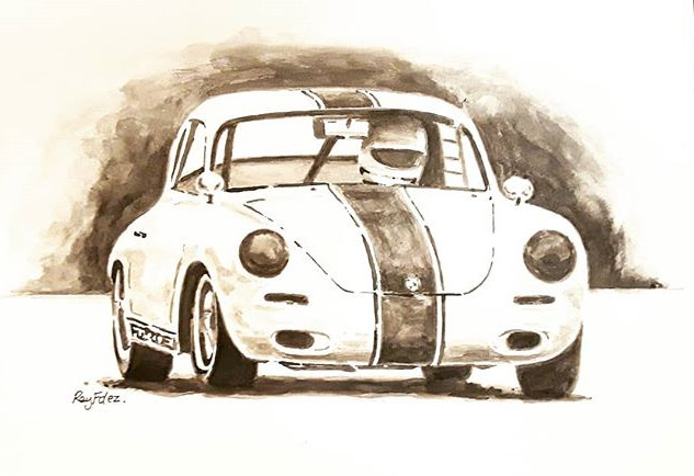 Ink wash, little old Porsche.jpg