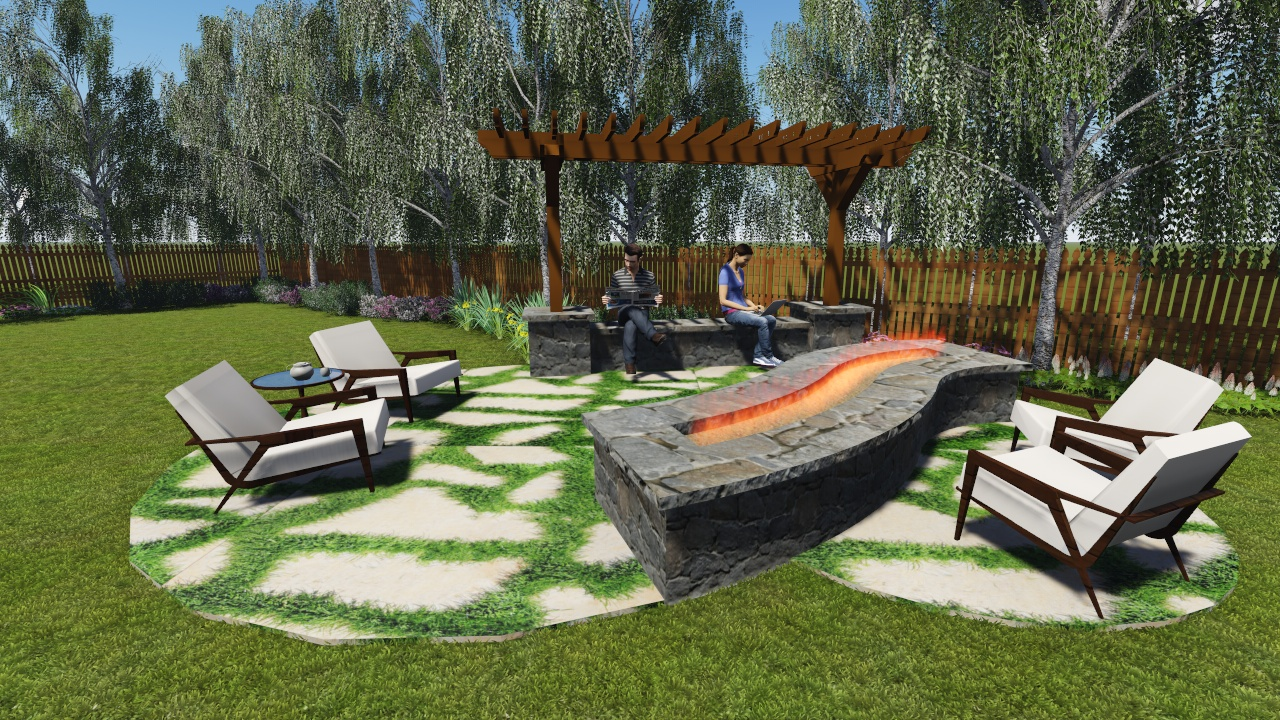 Residential FirePit and Arbor
