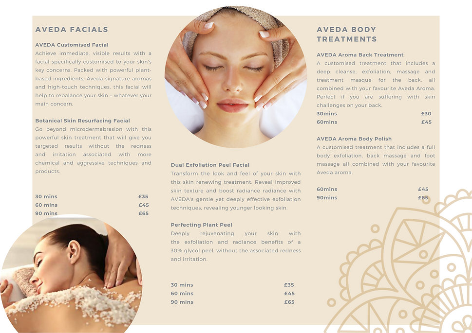 AVEDA customised facial, botanical skin resurfacingfacial, dual exfoliationpeel facial, perfecting plant peel, aveda aroma body polish, aveda aroma back treatment, pricelist