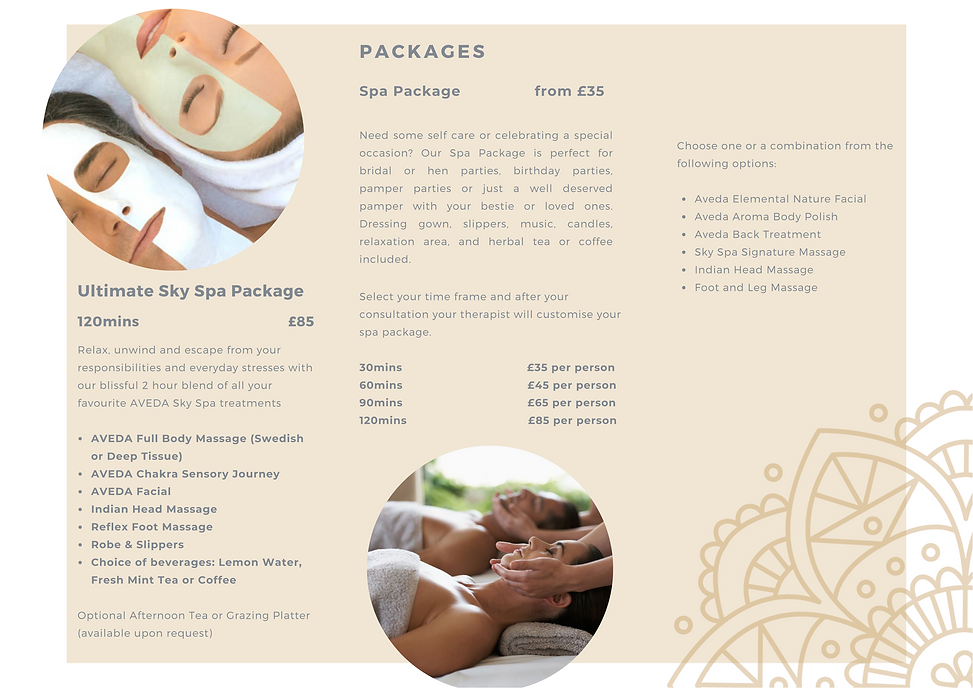sky spa packages, pricelist, spa package, ultimate sky spa package