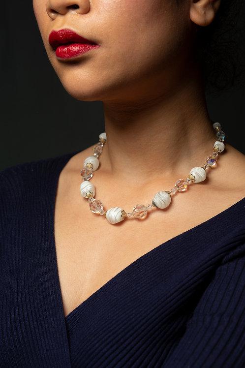 Collier perles de murano blanc ras de cou