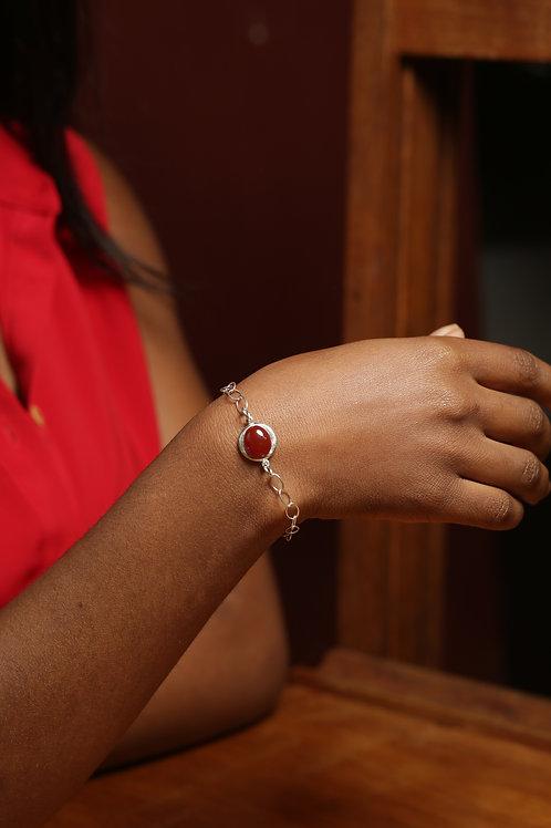 Bracelet argent massif et pierres naturelles cornaline
