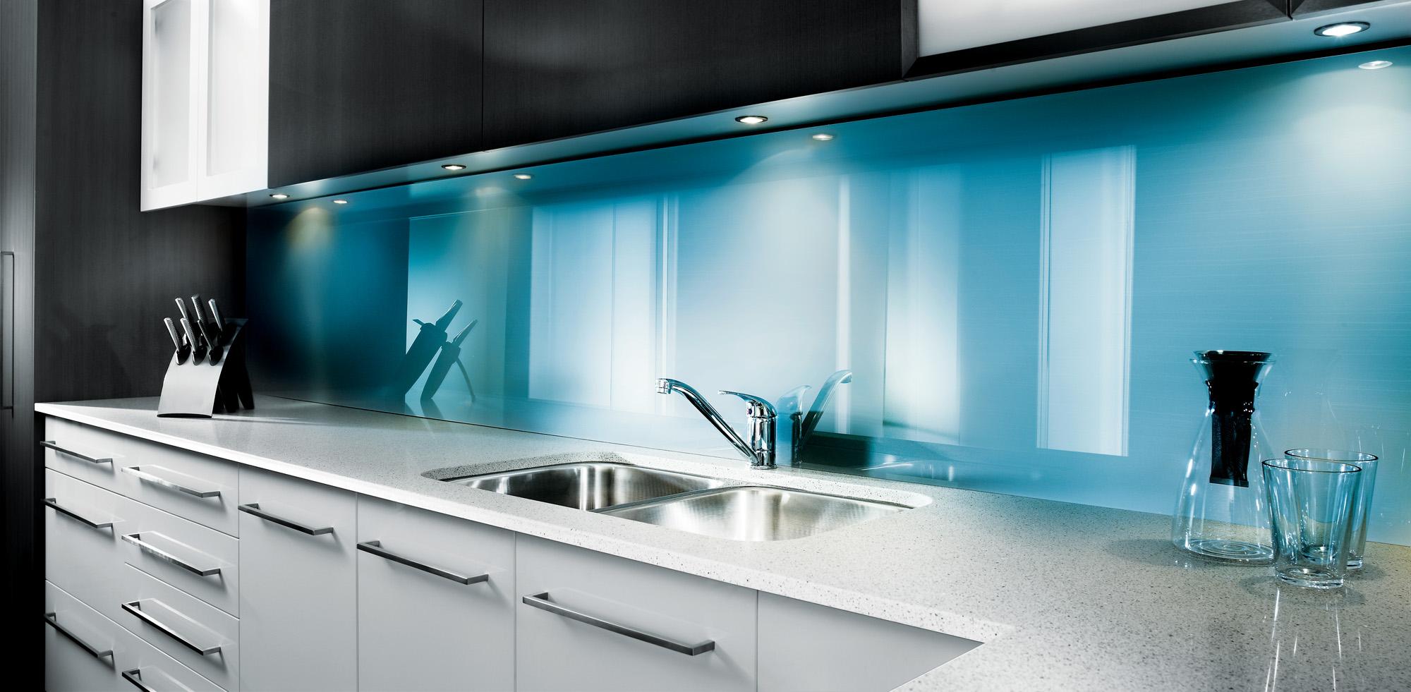 Lustrolite Blue Atoll Kitchen Lifestyle.