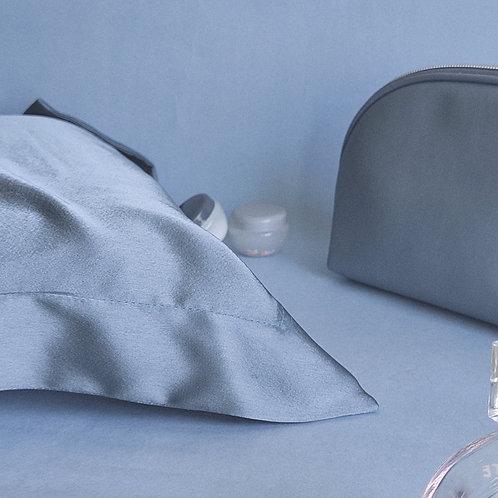 Sky Grey Satin Pillow Covers x 2