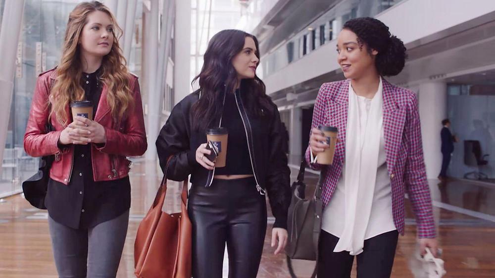 Jane Sloan, Kat Edison, Sutton Brady played by Katie Stevens, Aisha Dee and Meghan Fahy. Bold Type, Netflix