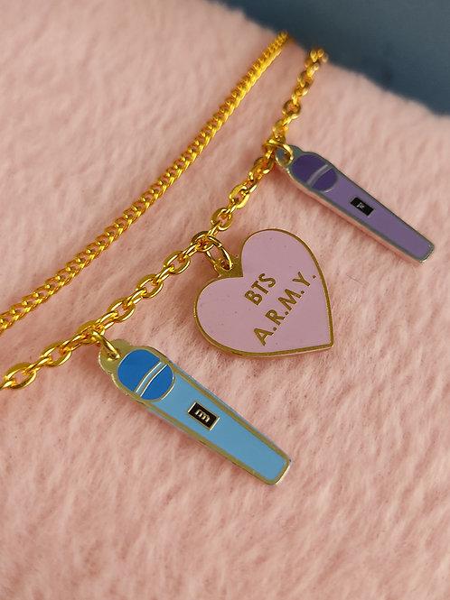 BTS Mic Double-Chain Charm Bracelet