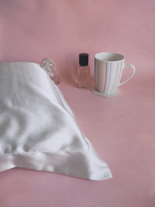 Pearl White Satin Pillow Covers x 2