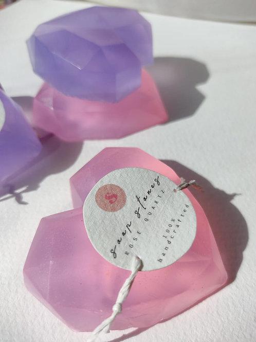 Set of Two Rose Quartz Soap Stones