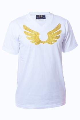 White V-Neck Shirt W/ Gold Wings