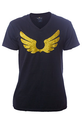 Black V-Neck Shirt W/ Gold Wings