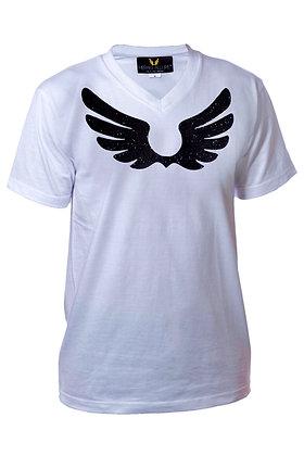 White V-Neck Shirt W/ Black Wings