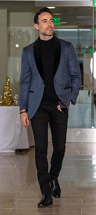 Blue and Black Tux Style Blazer