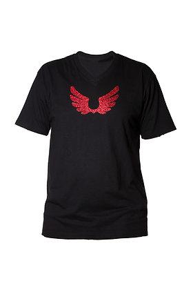 Black V-Neck Shirt W/ Red Wings