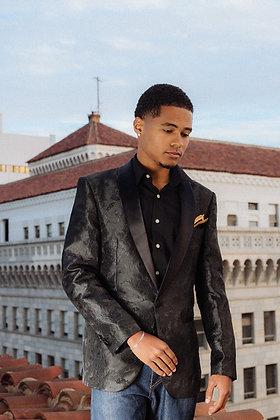 Gentleman's Black Rose Tux Style Blazer