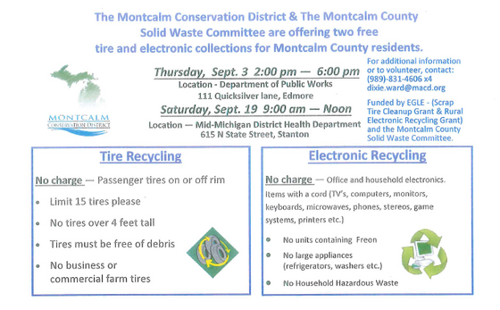 Montcalm County Tire and Electronic Recycling