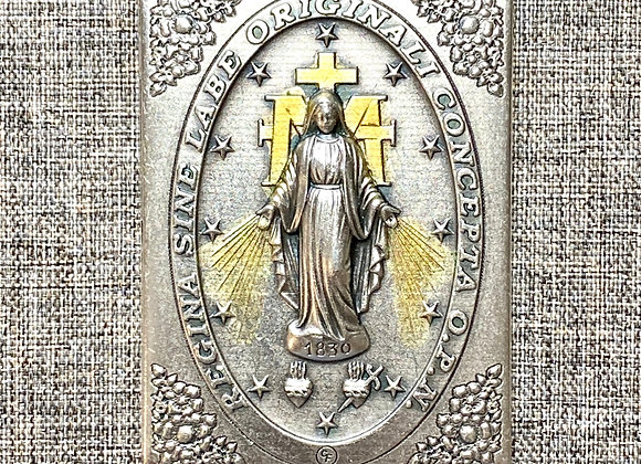 Miraculous Medal metal plaque.