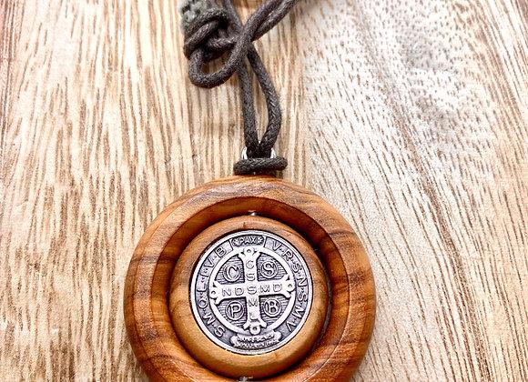 Necklace, Olive wood Saint Benedict.