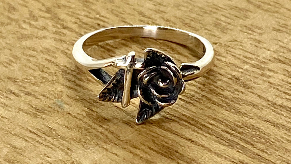 Sterling Silver Ring Cross with a Rose