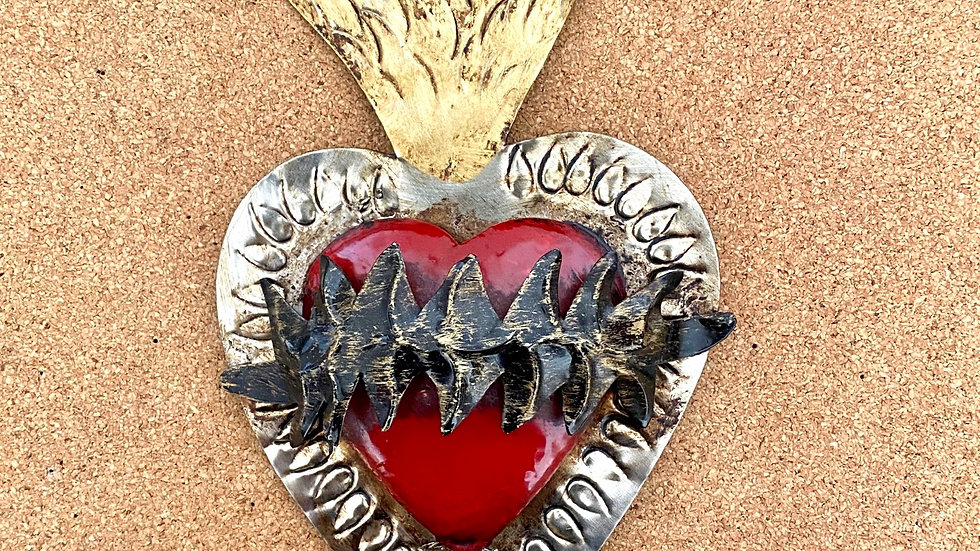 Heart with thorns, red color. Sacred heart of Jesus.