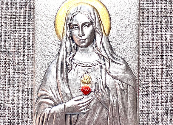 Metal plaque, Inmaculate Heart of Mary.
