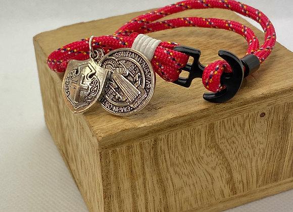 Bracelet Saint Benedict & Shield red