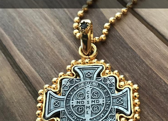 St. Benedict Gold Plated pendant necklace
