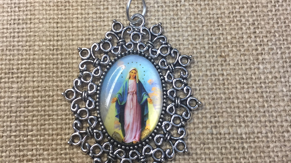 Miraculous Medal, color medal, silver color frame