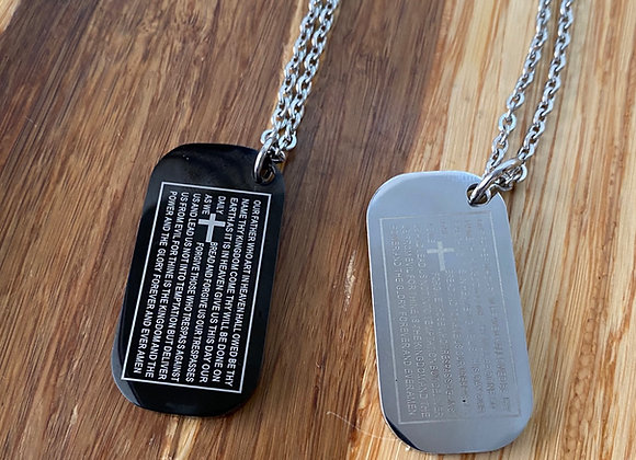 Lord's Prayer scripture, dog tag.