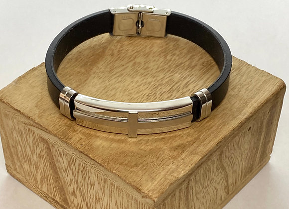Bracelet men with cross, stainless steel and silicons.