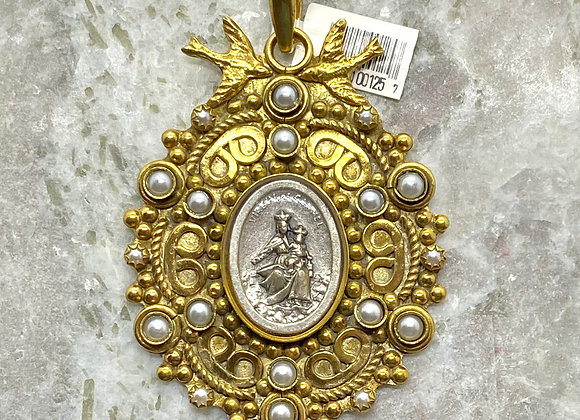 Our Lady of Mount Carmel Gold Plated pendant necklace