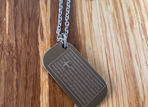 Lord's Prayer scripture, dog tag Necklace.