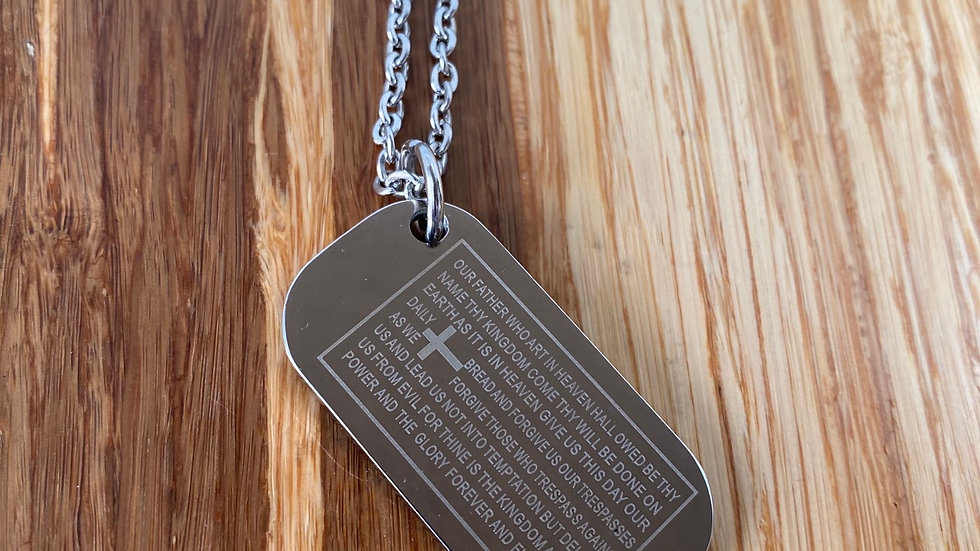 Lord's Prayer scripture, dog tag Necklace stainless steel.