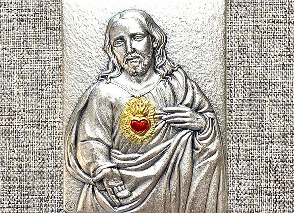 Sacred Heart of Jesus metal plaque.