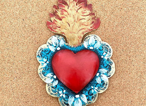 Heart with flame, red color