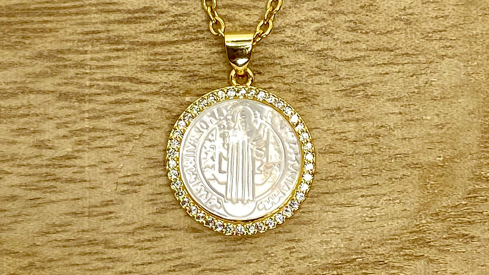 Necklace St Benedict mother pearl. Stainless steel chain.