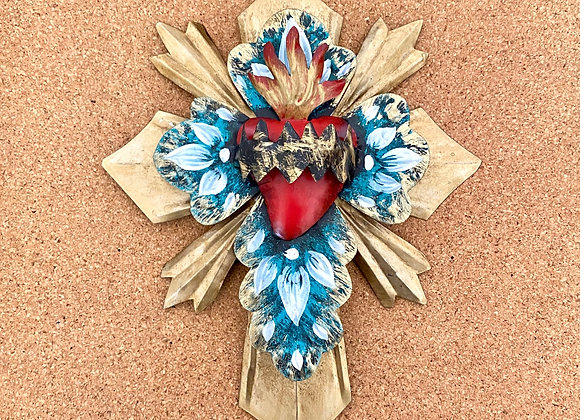 Heart with Thorns, turquoise green.
