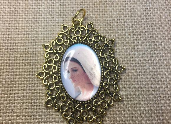 Virgen de la Paz, color medal, gold color frame