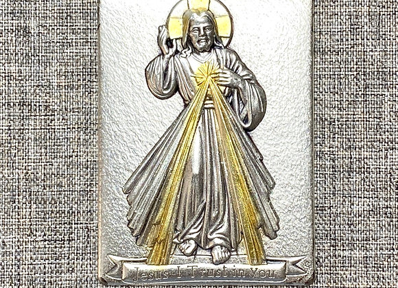 Divine Mercy metal plaque.