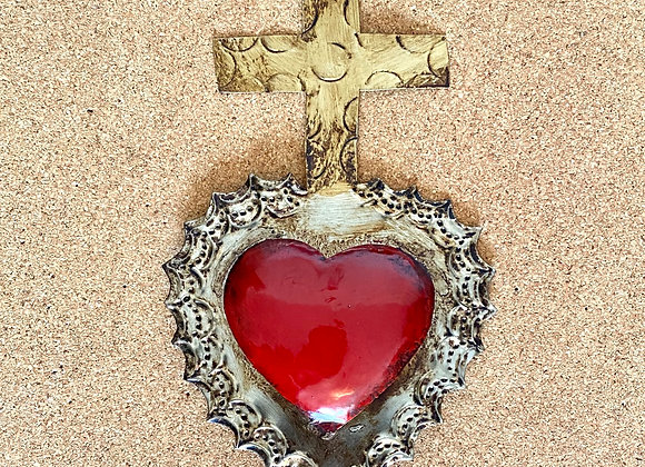 Heart with Cross, red color