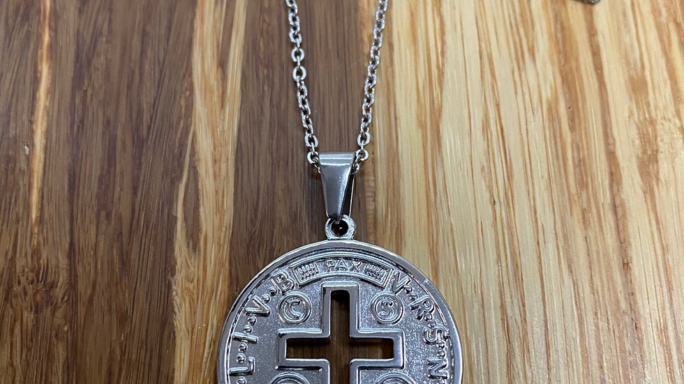 Medal Saint Benedict, stainless steel.