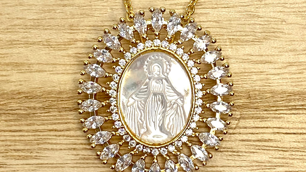 Miraculous Medal mother pearl Necklace, Stainless Steel chain