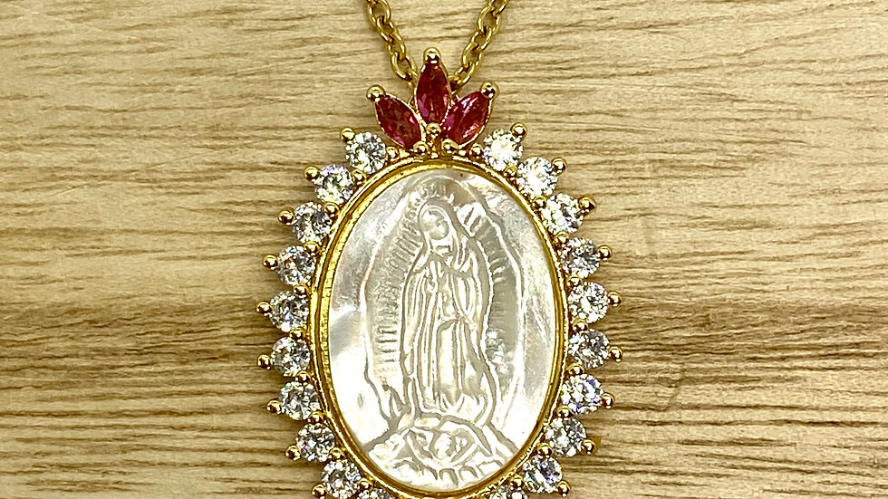 Necklace, Our Lady Guadalupe necklace. Stainless Steel gold color chain.