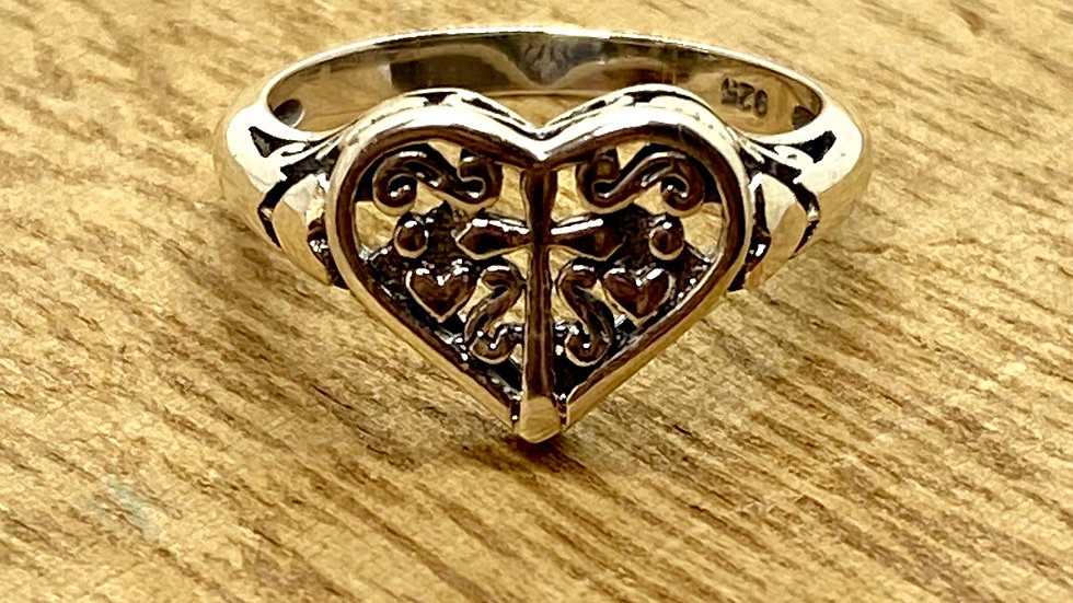 Sterling Silver Ring Cross within a Heart
