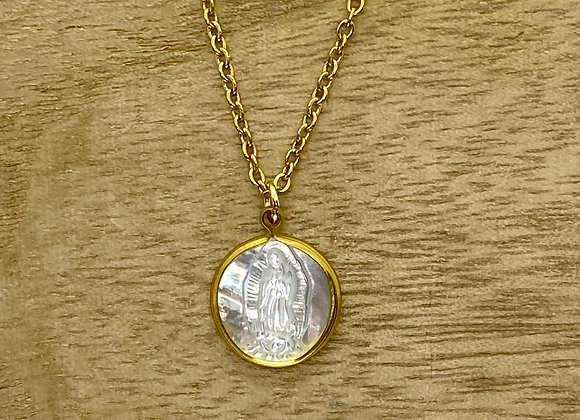 Necklace Our Lady Guadalupe mother pearl. Stainless steel chain.