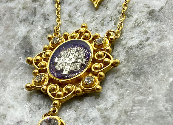 St. Benedict Cross Gold plated  pendant necklace