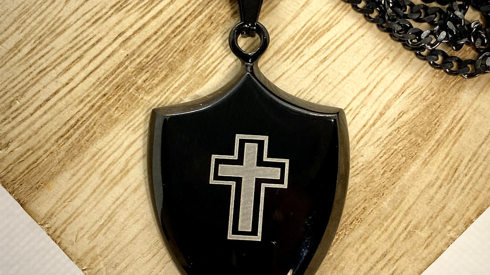 Stainless Steel Cross Shield, with black stainless steel chain.