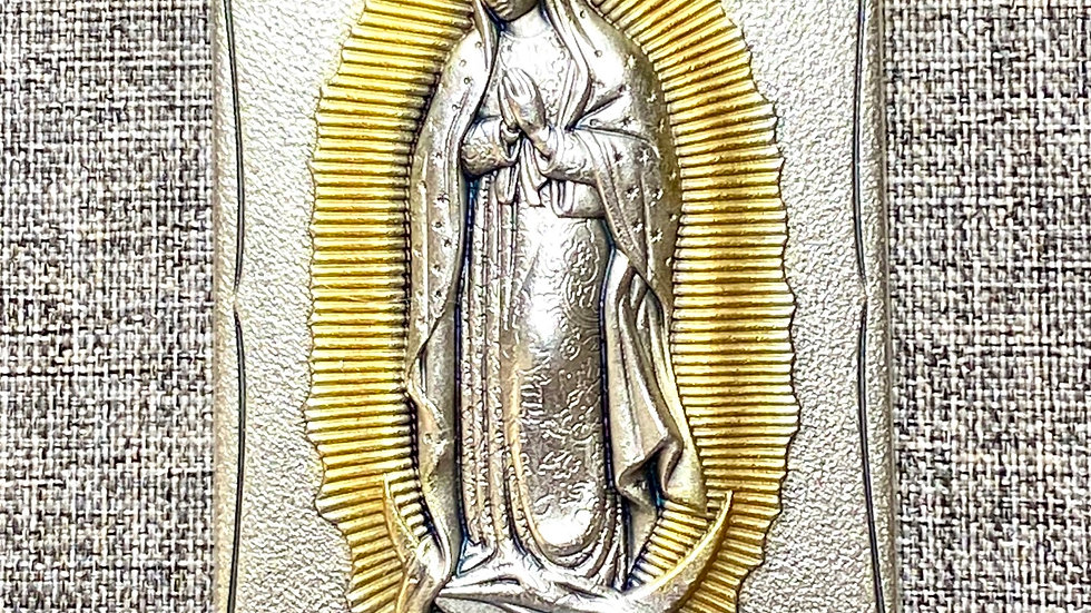 Our Lady Guadalupe, Metal plaque.