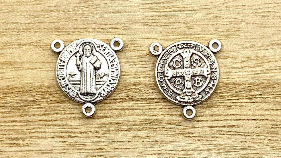 Rosary Connector, Saint Benedict medal, Italian metal,