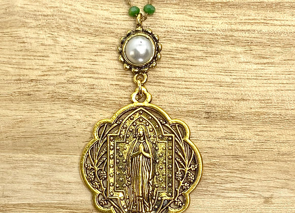 Necklace Our Lady, gold color.