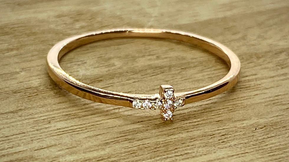 Sterling Silver Ring with one Cross, rose gold color